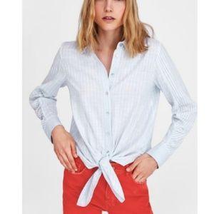 93bc35fc Zara Tops | Blue White Linen Striped Shirt With Tie Xl Nwot | Poshmark